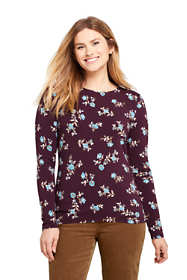 Women's Petite Lightweight Fitted Long Sleeve Crewneck T-Shirt Print