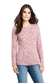 Women's Lightweight Fitted Long Sleeve Crewneck T-Shirt Print