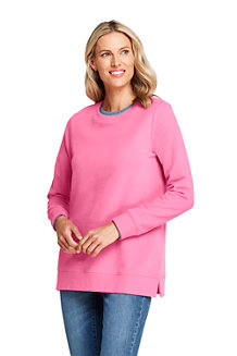 New Lands End Women/'s Fine Gauge SS Crew Sweater Misty Lilac Size L 14-16