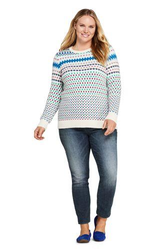 Women's Plus Size Christmas Cotton Blend Crewneck Sweater - Fair Isle
