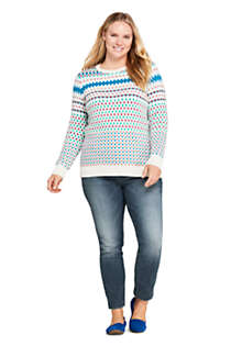 Women's Plus Size Christmas Cotton Blend Crewneck Sweater - Fair Isle , alternative image