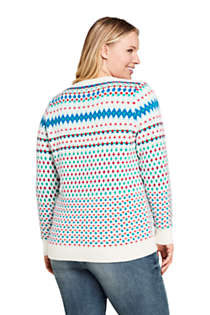 Women's Plus Size Christmas Cotton Blend Crewneck Sweater - Fair Isle , Back