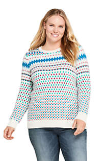 Women's Plus Size Christmas Cotton Blend Crewneck Sweater - Fair Isle , Front