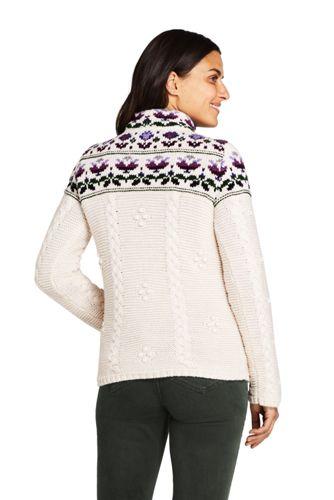 Women's Cotton Blend Mock Neck Aran Cable Sweater - Fair Isle