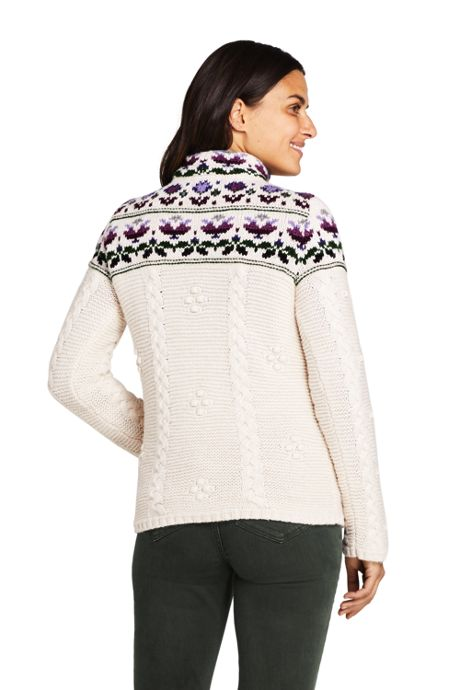 Women's Tall Cotton Blend Mock Neck Aran Cable Sweater - Fair Isle