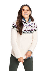 Women's Cotton Blend Mock Neck Aran Cable Sweater - Fair Isle