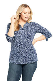 Women's Plus Size Long Sleeve Button Cuff Tunic Top Print