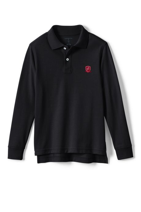 School Uniform Logo Little Kids Long Sleeve Performance Mesh Polo