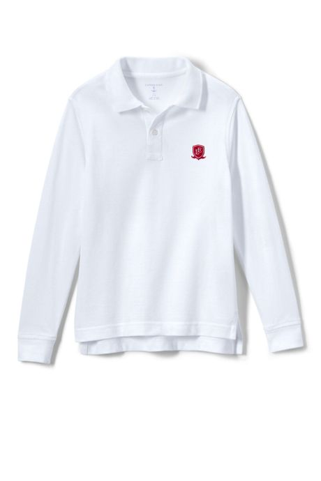 School Uniform Logo Kids Long Sleeve Performance Mesh Polo