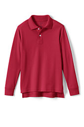 School Uniform Long Sleeve Solid Performance Mesh Polo Shirt