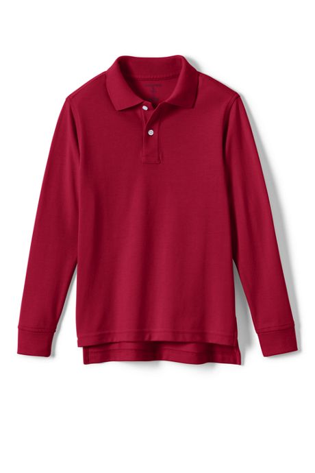 School Uniform Little Kids Long Sleeve Performance Mesh Polo
