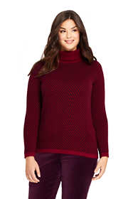 Women's Plus Size Cashmere Turtleneck Sweater - Print