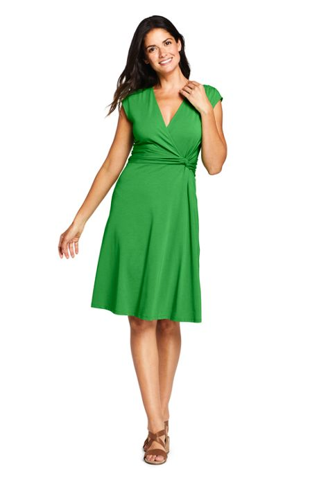 Women's Cap Sleeve Surplice Fit and Flare Dress