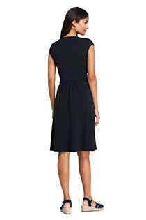 Women's Cap Sleeve Surplice Wrap Knee Length Fit and Flare Dress, Back