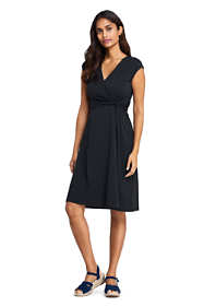 Women's Cap Sleeve Surplice Wrap Knee Length Fit and Flare Dress