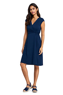 Women's Cap Sleeve Twist Wrap Front Fit & Flare Dress