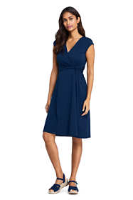Women's Petite Cap Sleeve Surplice Wrap Knee Length Fit and Flare Dress