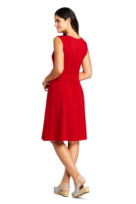Women's Sleeveless Cross Front Fit and Flare Dress