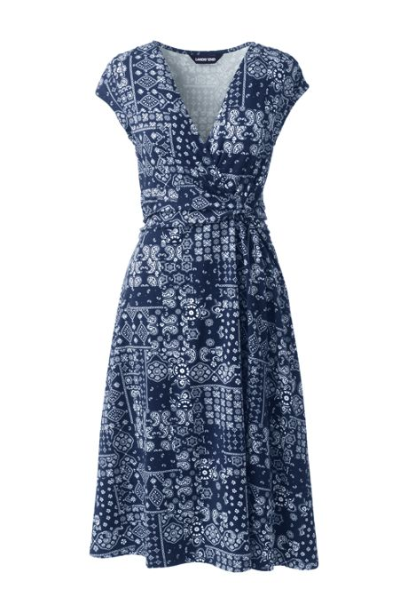 Women's Plus Size Cap Sleeve Surplice Wrap Knee Length Fit and Flare Dress - Print