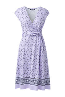 Women's Cap Sleeve Surplice Wrap Knee Length Fit and Flare Dress - Print, Front