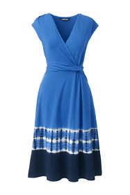 Women's Plus Size Cap Sleeve Surplice Wrap Knee Length Fit and Flare Dress - Print