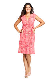 Women's Cap Sleeve Print Surplice Fit and Flare Dress