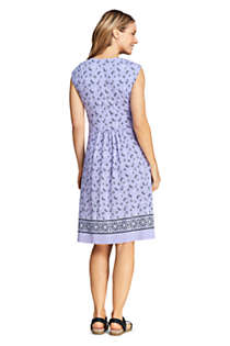 Women's Cap Sleeve Surplice Wrap Knee Length Fit and Flare Dress - Print, Back
