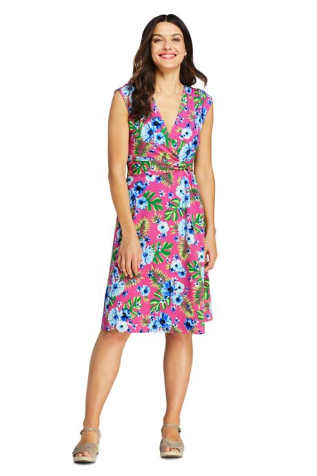 Women's Tall Cap Sleeve Surplice Wrap Knee Length Fit and Flare Dress - Print
