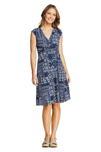Women's Cap Sleeve Twist Wrap Front Fit & Flare Dress, Print