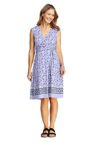 Women's Cap Sleeve Surplice Wrap Knee Length Fit and Flare Dress - Print
