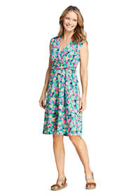 Women's Petite Cap Sleeve Surplice Wrap Knee Length Fit and Flare Dress - Print