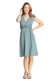 Women's Petite Cap Sleeve Surplice Wrap Knee Length Fit and Flare Dress - Print