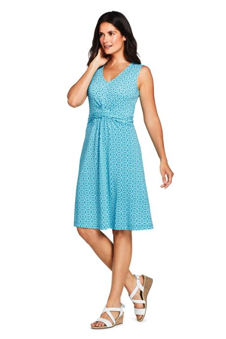 Women's Sleeveless Print Cross Front Fit and Flare Dress
