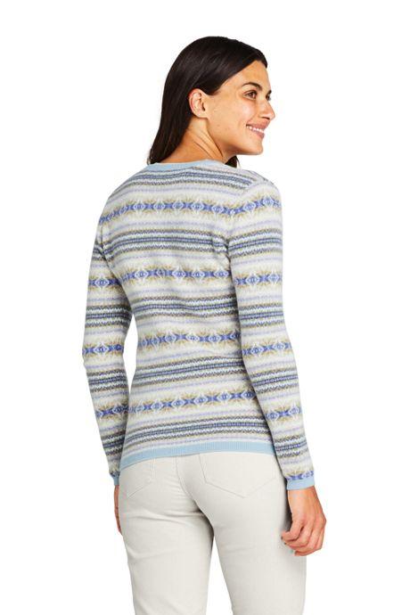 Women's Cashmere Cardigan Sweater - Fair Isle