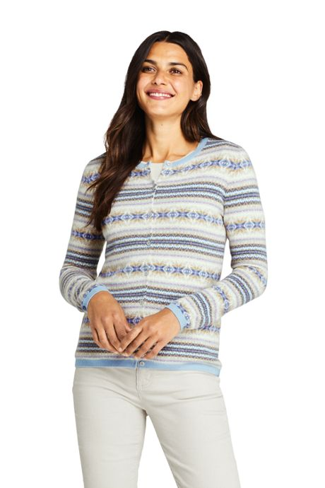 Women's Tall Cashmere Cardigan Sweater - Fair Isle
