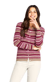 Women's Petite Cashmere Cardigan Sweater - Fair Isle
