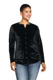 Women's Plus Size Velvet Button Front Long Sleeve Tunic Top Floral