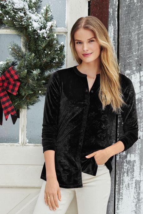 Women's Petite Velvet Button Front Long Sleeve Tunic Top Floral