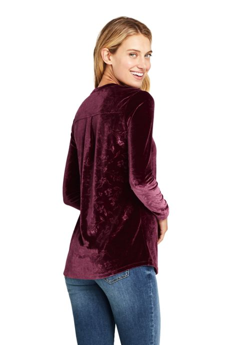 Women's Petite Velvet Button Front Long Sleeve Tunic Top Floral