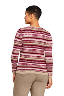 Women's Plus Size Cashmere Cardigan Sweater - Fair Isle, Back