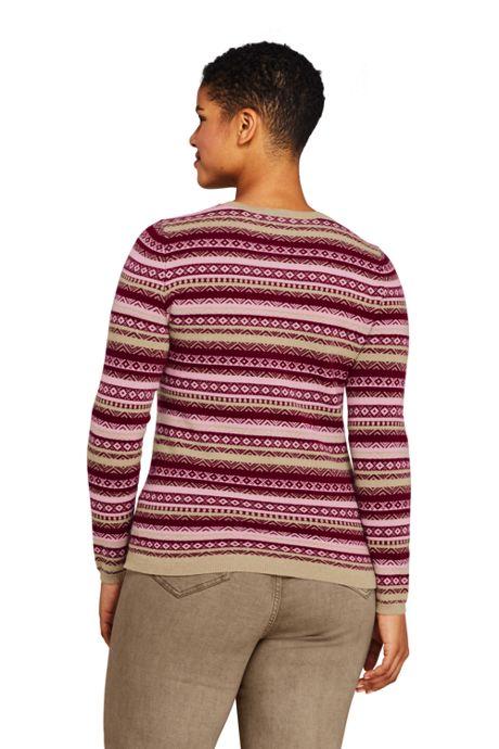 Women's Plus Size Cashmere Cardigan Sweater - Fair Isle
