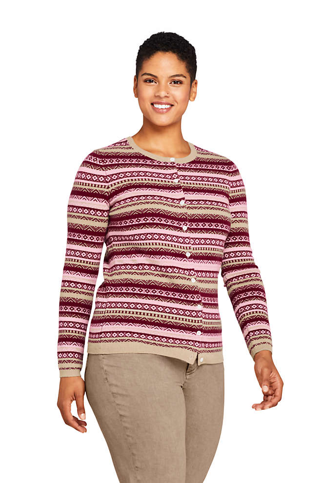 Women's Plus Size Cashmere Cardigan Sweater - Fair Isle, Front