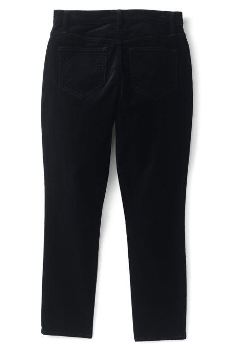Women's Plus Size High Rise Velvet Slim Straight Ankle Pants