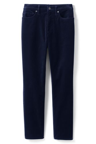 Pantalon Slim 7/8 Taille Haute en Velours Stretch, Femme Stature Standard