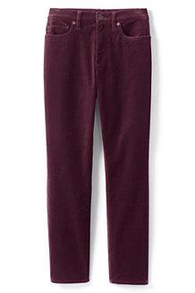 Pantalon Slim 7/8 Taille Haute en Velours Stretch, Femme