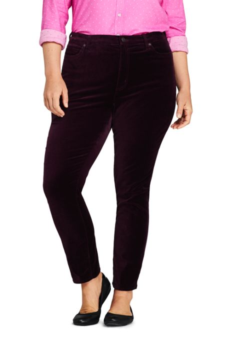 Women's Plus Size High Rise Velvet Slim Straight Ankle Pants