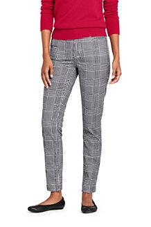 Pantalon Slim 7/8 Taille Haute en Velours Stretch à Motifs, Femme