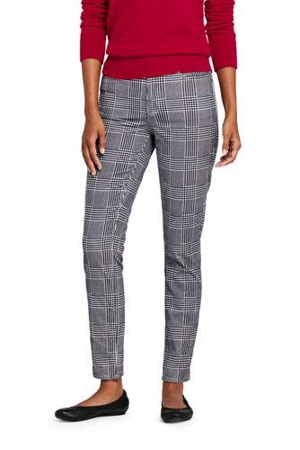 Pantalon Slim 7/8 Taille Haute en Velours Stretch à Motifs, Femme Stature Standard