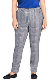 Women's Plus Size High Rise Velvet Pattern Slim Straight Ankle Pants