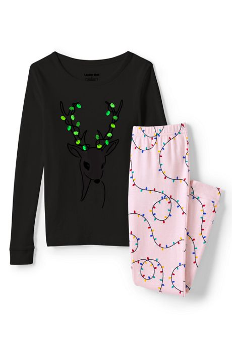 Girls Glow In The Dark Snug Fit Pajama Set